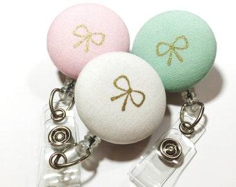 Choose Pink Mint Cream  Gold Bow Name Badge Reel - Retractable Name Badge  - Badge Holder - Nurse Teacher Gift - Swivel Retractable ID Badge