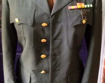 Military Army dress jacket with medals and ribbons