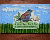 Lovely Little Bird Oil Hand Painted Magnet ACEO