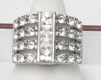 Wide Band Vintage Four Rows Crystal Statement Ring Costume Jewelry