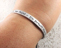 Hand stamped cuff bracelet - Perfectly forgiven cuff - Faith jewelry - Christian bracelet - Custom jewelry - Gift for her - Cross bracelet