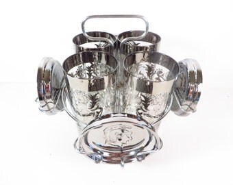 Mid Century Silver Bar Glasses and Coasters - Set of 4 1950's Kimiko Guardian Silver Rimmed Glasses