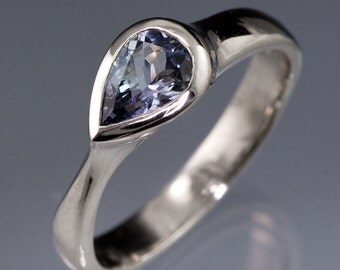 Tear Drop Pear Tanzanite Engagement Ring in Palladium, Yellow & Rose Gold, White Gold, Modern Alternative Engagement Ring