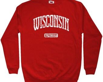 SALE! Wisconsin Represent Sweatshirt - Men's XL - Crewneck - Red