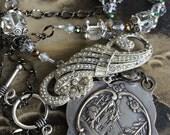 Maison de Jeanne D'Arc, Large locket assemblage necklace, home of Joan of Arc