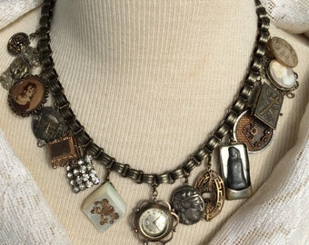 Stunning Victorian Assemblage Collage Necklace, Choker, Charms