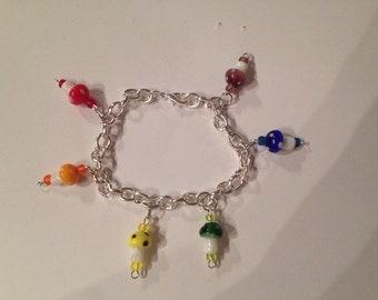 Glass Rainbow Mushroom Bracelet