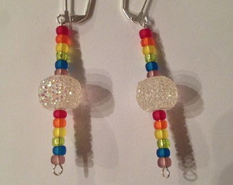 Disco Ball Earrings with Rainbow Accents