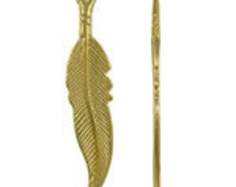 Gold Plated  Hallow Leaf Charm Pendant