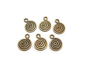 6 Antique bronze spiral charms