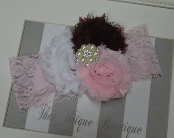 Shabby Chic Trio Headband...Newborn Headband...Vintage Look...Photo Prop Headband...Rosette Headband...Pink Brown and White...Pink Lace