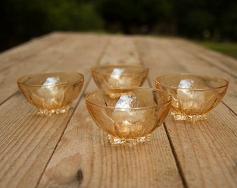 Pearl orange small glass bowls - set of 4