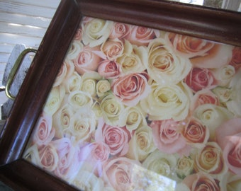 Serving Tray Framed Wood and Glass  Small Service Tray Changeable Frame