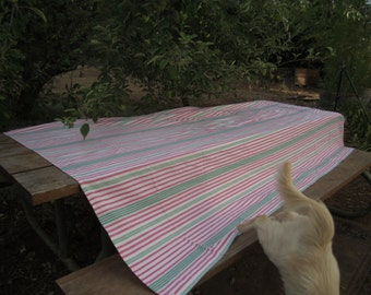 Striped Tablecloth Watermelon Shades Rectangular 80s Cotton Heavy Cloth Extra BOho Christmas 96 by 56