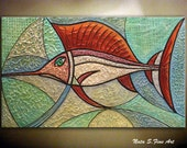 """Modern Fish Painting.Heavy Textured Large Abstract Painting.Original Painting.Teal Home Office Decor Large Artwork   24""""x40""""  - by Nata S"""