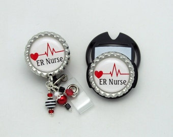 ER Nurse Badge Reel and Stethoscope Tag Combo - Designer Badge Reels - Emergency Room Nurse ID - Medical Gifts - Designer ID Wear - Badges