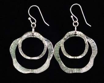 Large Sterling Silver Earrings Hammered Circles