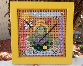 Beaded Cross Stitched Frog  ~  Fishing Frog Cross Stitch with Beads  ~  Frog Cross Stitch with Beads