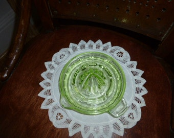 Lemon squeezer or reamer, green Depression glass, lovely addition to a period kitchen.