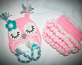 READY TO SHIP Newborn Sleepy Owl Hat and Adjustable Ruffle Diaper Cover set