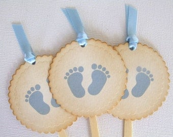 Baby Feet Cupcake Toppers, Baby Footprints Cupcake Toppers, Baby Boy Shower Buffet Decoration, Vintage Style Blue Topper, Set of 10, 007-B