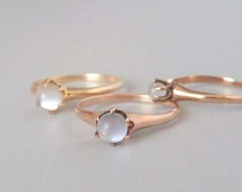 Victorian Moonstone Ring. Claw Set Ball. 10k Rose Gold. Size 8.75