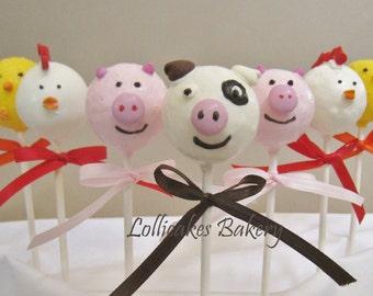 Barnyard Animals Birthday, Farm Animal Birthday Cake Pops, First Birthday Barnyard theme, 1 dozen