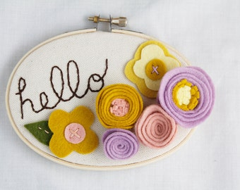 Hello Sign, Welcome Plaque, Housewarming Present, New Neighbor, Nursery Wall Decor, Embroidery Hoop Art, Rustic Home Sign, You Choose Text