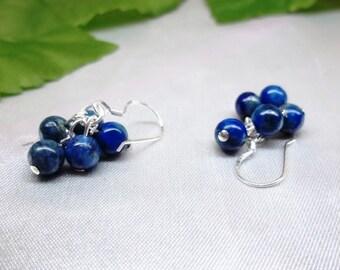 Blue Lapis Earrings Cluster Earrings Blue Lapis Lazuli Earrings Dangle Earrings 100% 925 Sterling Silver or 14k Gold Filled BuyAny3+1 Free