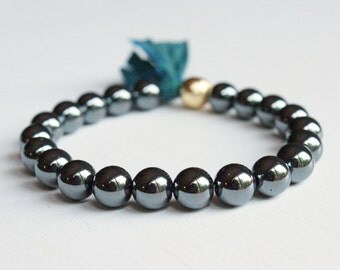 Hematite Mala Tassel Bracelet - Japa Yoga Jewelry Wrist Mala Prayer Beads Stacking Bracelet Green Gold