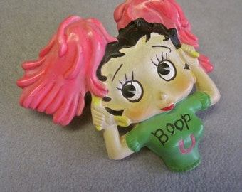 Betty Boop Brooch Cheerleader with Pink Pom Poms Boop U Cheering College Girl 80s Large Statement Novelty Hand Painted Resin Collectible