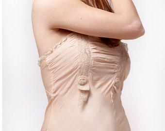 1920's Bias Cut Silk Slip /  Twenties Lingerie / 20's Nightgown / Bridal Trousseau / Boudoir