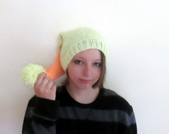 Adult Long Stocking Cap in Yellow and Orange Hand Knit in Vintage Yarn - 100% Acrylic - One Size Fits Most
