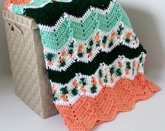 Afghan - Handmade Crochet Ripple Blanket - Greens and Peach