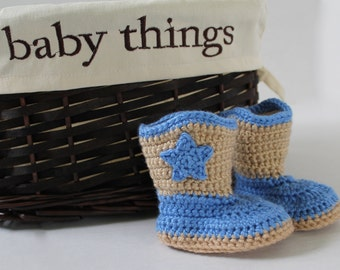 Baby Cowboy Boots - Crochet - 3 - 6 months - Tan and Blue