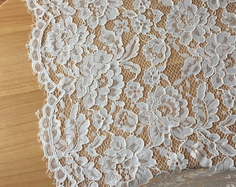 Alencon Eyelash Lace Fabric in Off White for Bridals Gowns, Wedding Lace Fabric, Scalloped Lace Fabric