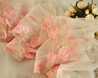 6.5 yards Pink Lace Trim , Floral Embroidered Lace Trim