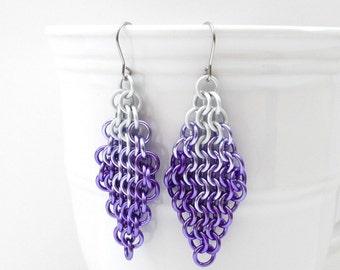 Purple ombre earrings, chainmail European 4 in 1 earrings, purple jewelry, chainmail earrings