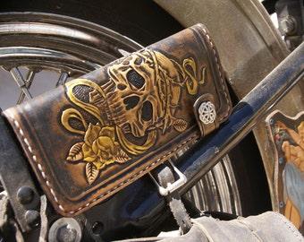 biker wallet ( chain wallet ~ leather wallet ~ skull wallet ~ motorcycle wallet ~ mens gift ~ tattoo wallet ~ trucker ) Outlaw Leather USA)