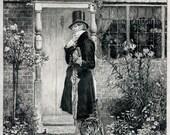 Antique Etching W. Dendy Sadler - Man at Door with Cat Rubbing against Leg - Vintage Print / Home Decor - Vintage Cat Artwork on Faux Vellum