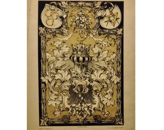 Antique Heraldic Print - Masonic Symbol - Coat of Arms - Masculine Wall Art - Classic Home Decor 1800s Vintage Print Renaissance Style