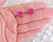 Hot Pink Stud Earrings Faceted Gem Gold Nickel Free