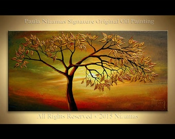 Original Oil Painting Palette Knife Modern Evening Tree Landscape Nizamas wall decoration sunset, clouds, fall