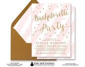 PINK & GOLD BACHELORETTE Invitation Elegant Stripe Bridal Party Glitter Confetti Wedding Calligraphy Free Shipping or DiY Printable- Stella