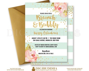 BRUNCH & BUBBLY INVITATION Bridal Shower Invite Pink Peonies Mint Stripes Gold Glitter Confetti Printable Rose Free Shipping or DiY- Krissy