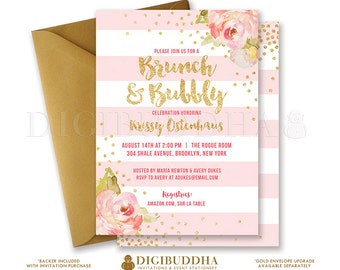 BRUNCH & BUBBLY INVITATION Bridal Shower Invite Pink Peonies Blush Stripes Gold Glitter Confetti Printable Rose Free Shipping or DiY- Krissy