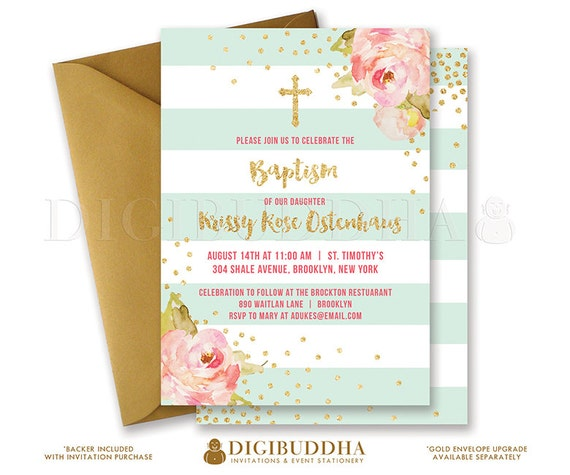 Mint Gold Baptism Invitation Girl Christening Party Invite