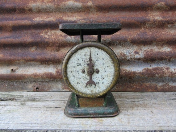 Antique Scale Old Fashion Rusty 24lb Scale Brass Tag L H