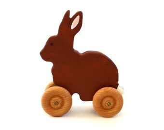 Toy Rabbit - Wooden Waldorf Toy For Toddlers and Babies - Push Toy