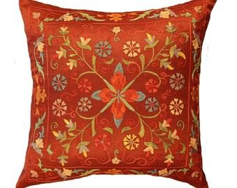 Handmade Suzani Silk Pillow Cover EMP721, Suzani Pillow, Uzbek Suzani, Suzani Throw, Suzani, Decorative pillows, Accent pillows